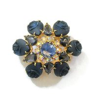 Juliana D&E Blue Molded Art Glass Rose Brooch Pin, With Aurora Borealis Rhinestones, Unmarked