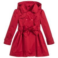 Girls Red Hooded Trench Coat