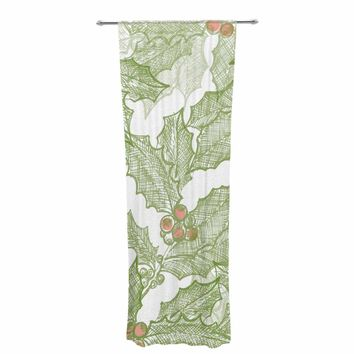 "Jennifer Rizzo ""Vintage Sketched Holly"" Green White Pattern Decorative Sheer Curtain"