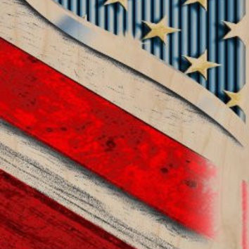 American National Flag USA Red, Gold, & Blue Stars & Stripes - Plywood Wood Print Poster Wall Art