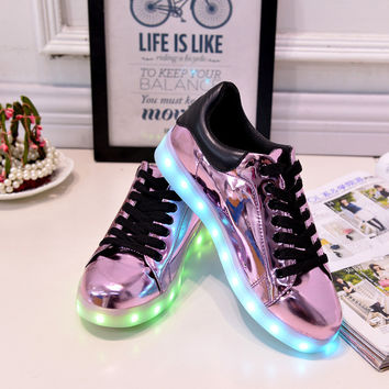 YEAFEY Glowing LED Illuminated Women's Leather Casual Tennis Shoes - Sizes 35-41
