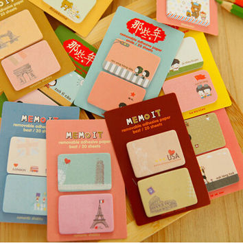1 Piece Korean cartoon memo pads sticky notes stationery post notepad filofax office supplies school kawaii animals girls