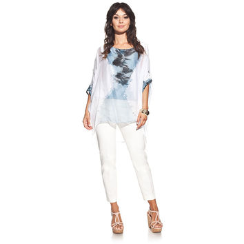 Silk blouse colour blue with boat neck and tie-dye print