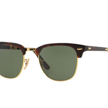 Ray-Ban Clubmaster Folding Polarized Lenses Tortoise Green Classic RB2176
