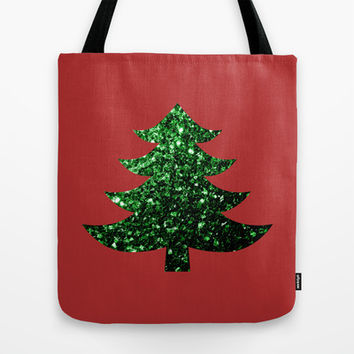 Christmas tree green sparkles Tote Bag by PLdesign