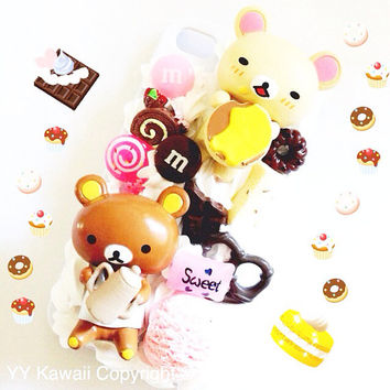 Kawaii decoden rilakkuma and korilakkuma sweets theme phone case for iPhone 4/4s 5, Sansung galaxy S2 S3 S4 Mini