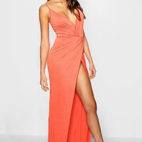 Tall Drape Wrap Maxi Dress | Boohoo