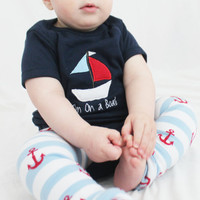 I'm On a Boat Nautical Baby Outfit Onesuit and Anchor Baby Leg Warmers Sailboat