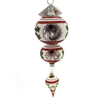 Golden Bell Collection Christmas Drop With Holly Glass Ornament