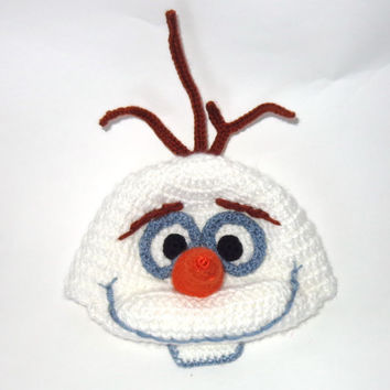 Olaf Snowman Frozen Crochet Hat - Disney Hat Crochet Wig - Choose your size