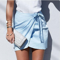Light Blue Wrap and Tied Skirt