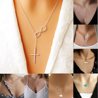 Women's Fashion Casual Personality Trendy Infinity Cross Pendant Necklace