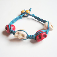 Hemp Skull Bracelet in Red, White and Blue, ready to ship.