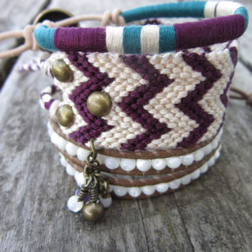 The Bohemian Bracelet Set In Plum Linen and by NoliePolieOlies