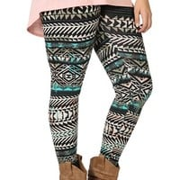 Plus Size Multicolor Tribal Print Legging