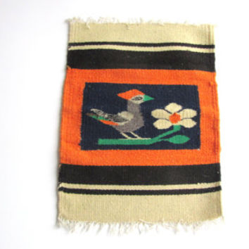 Vintage Tapestry Tribal Wall Art 60s Bird and Flower Motif