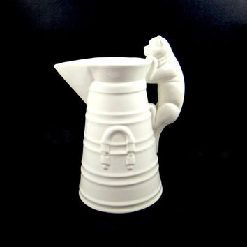 Vintage Williams Sonoma Cat on Milk Can Pitcher Made in Italy