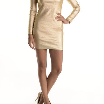 (anb) Long sleeves open back gold bodycon short dress