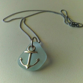 Silver Anchor Necklace, Seafoam Sea Glass Pendant Necklace, Sea Charm Necklace, Beach Nautical Jewelry, Anchor Jewelry, SeaGlass Jewelry