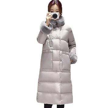 High Quality 2016 Women Parkas Winter Jacket Real Fur Collar Long White Duck Down Coat Thicken Winter Down Coat Female PW0763