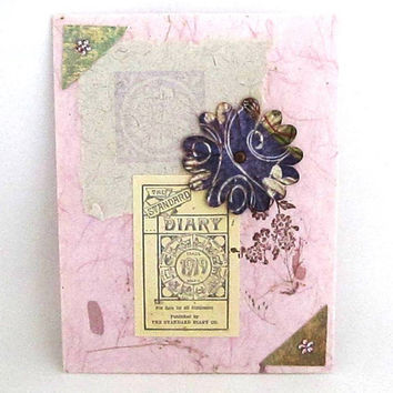 SALE - Vintage Style Card - Blank Card - Collage Card - Shabby Chic Flower - Hand Stamped - Pink Card - Mulberry Paper