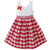 Girls Red Tartan Checkered Plaid Party Spring Occasion Summer Dress
