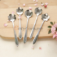 Tea Spoons Flower Shape Stainless Steel Coffee Ice Cream Flatware