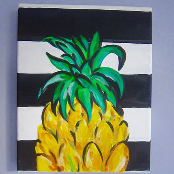 PINEAPPLE PAINTING - pineapple art, fruit art, dorm art, home decor, tropical art, modern art, black and white stripes