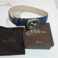 GUCCI BELT NEW BLUE LEATHER MENS BELT
