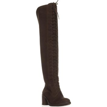Lucky Brand Riddick Lace Up Over The Knee Boots, Java, 8 US / 38 EU
