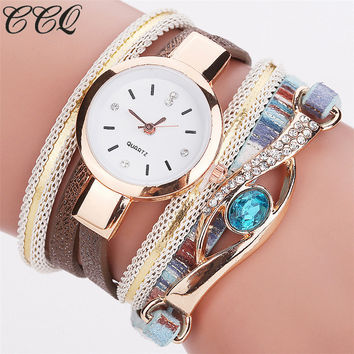 Gemstone Bracelet Style Watches for Women and Men. Quartz Wrist Watch with Leather Strap.