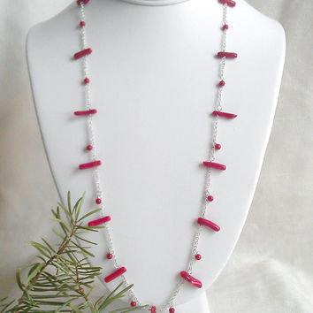 26 inch Neptune's Garden Necklace. Natural Red Coral Branches, Sterling Silver Chain. Long layering red gemstone chain necklace