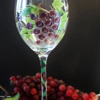 Purple Grape Cluster Wine Glass Hand Painted Fruit Entertaining Home Bar