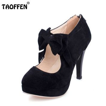 New Plus size 30-47 fashion vintage woman small bowtie platform pumps,ladys sexy high