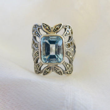 Sterling Aquamarine Ring, with Marcasites, Emerald Cut Aquamarine Stone, Size 6.5