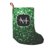 Beautiful Glamour Green glitter sparkles Monogram Small Christmas Stocking