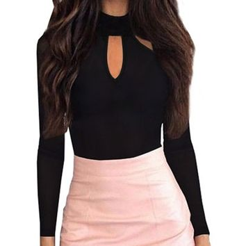 Black Cut Out Front Long Sleeve Bodysuit