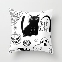 Halloween Doodles 1 Throw Pillow by Shashira Handmaker