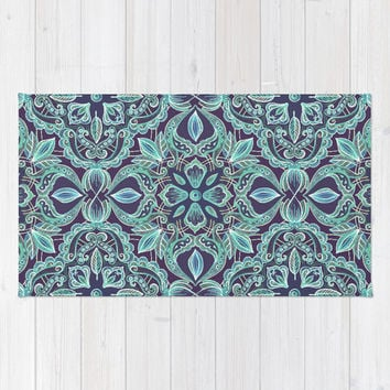 Chalkboard Floral Pattern in Teal & Navy Area & Throw Rug by micklyn