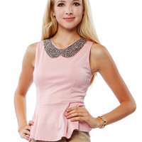 Papaya Clothing Online :: EMBELLISHED PETER PAN COLLAR PEPLUM TOP