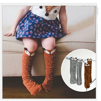 fox socks Lovely 3D Fox Baby Leg Warmers Socks skid For Children Girls Non-slip Cotton Kids Socks Meias Calentadores Piernas