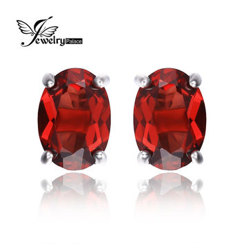 JewelryPalace Oval 2ct Natural Red Garnet Birthstone Stud Earrings Solid 925 Sterling Silver Jewelry Fashion Girl Birthday Gift