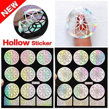 CREYHY3 2016 New 1pcs Silver Hollow Vinyls Nail Art Stamp Stamping Stencil Nail Sticker Guide Manicure Nail Tools