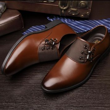 Luxury Brand Men's Business Dress Shoes Genuine Leather Oxford Shoes Black Brown Classic Gentleman Shoes Fashion Flats Sapato 2A