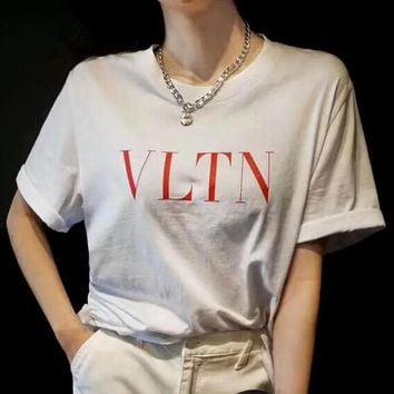 Valentino 2019 new simple letter print loose round neck half sleeve t-shirt White