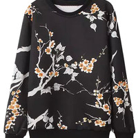 Black Floral Long Sleeve Sweatshirt