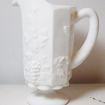 White Milk Glass Paneled Grape Design Pitcher Grapevine Footed Milk Juice Beverage Cottage Decor Collectible 8 Inches Tall