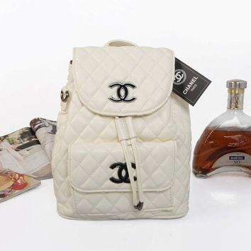 CHANEL Women Fashion College Leather Satchel Bookbag Backpack