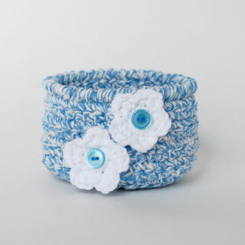 Blue and white crochet bowl, storage basket, country decor, flower pot, baby shower gift, seaside decor, beach house, summer, fresh, bright
