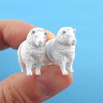 3D White Sheep Shaped Two Part Front Back Stud Earrings